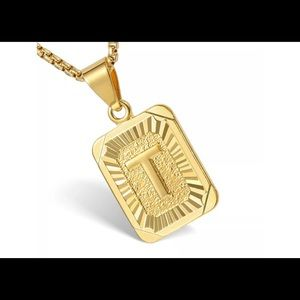 "Gold Filled Letter T Pendant 20"" Long Necklace"